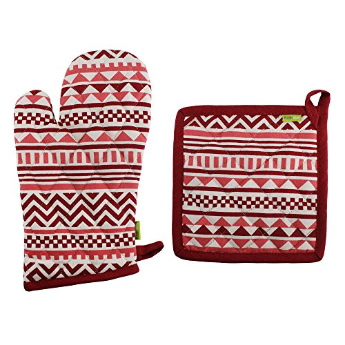 Pot Holder And Oven Mitt Set, 100% Cotton, Set of 1 Oven mitten of Size 7