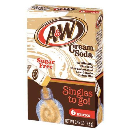 A&W Cream Soda Singles To Go Powder Packets - Sugar Free, Non-Carbonated Cream Soda Flavored Water Drink Mix, 6 Count ( Pack Of  12 ) (A&w Root Beer Jelly)