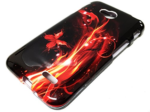 For LG Optimus Exceed 2 VS450PP / Realm / Pulse Hard Snap On Faceplate Phone Cover Case + Happy Face Phone Dust Plug (Fire Red Flame Butterfly)