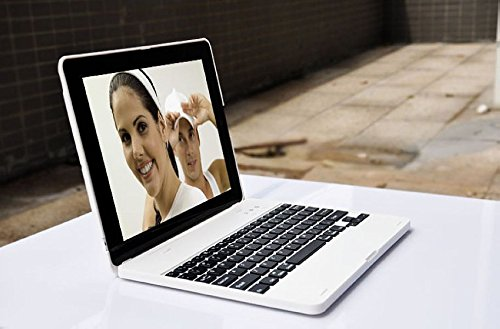 DAXXIS iPad2/3/4 Bluetooth Wireless Keyboard Clam Cover Case with Stand for iPad 2/3/4. Built In 4000 mah Power Bank Lithium Battery & Stand with 135 Degrees Adjustable Angles. (iPad 2/3/4, #White) by DAXXIS (Image #4)