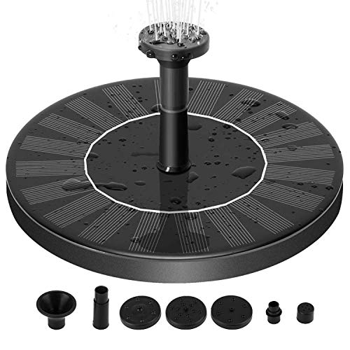 Zomma Solar Fountain Pump, Free Standing 1.4W Bird Bath Fountain Pump for Garden and Patio, Solar Panel Kit Water Pump (Black-New) ()