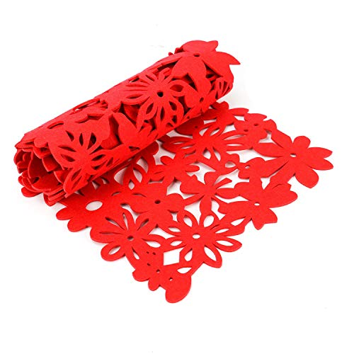 (Buorsa Red Rectangle Felt Table Runner Hollow Out Table Runner Placemats Household Dining Decorations,11 x 39)