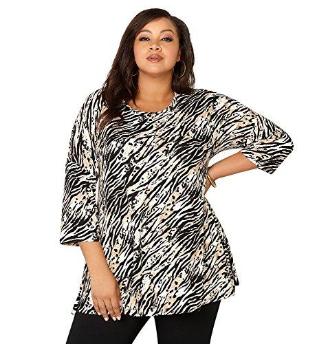 -AVENUE Women's Zebra Empire Swing Top, 14/16 Brown