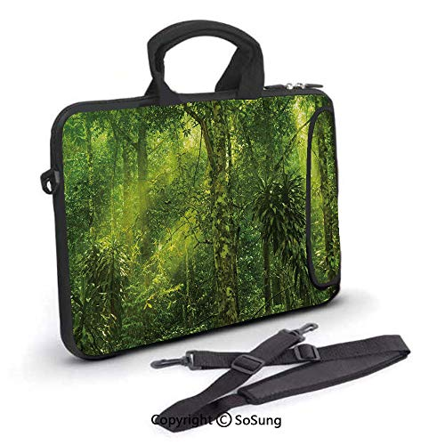 - 10 inch Laptop Case,Tropical Tranquil Place with lots of Green Trees Earthly Places Untouched Jungle Neoprene Laptop Shoulder Bag Sleeve Case with Handle and Carrying & External Side Pocket,for Netboo