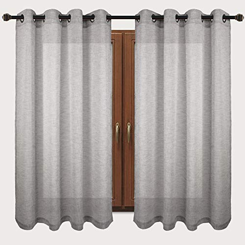 VOILYBIRD Vitoria Grey Linen Semi Sheer Grommet Curtains 63 inch Length, Country Curtains for Bedroom, 54''Wx63''L, Set of 2 (Sheer Curtains Panel Polyester)