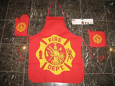 (Fire Department Fire Fighter BBQ Barbeque Apron Cook)