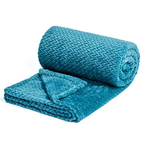NEWCOSPLAY Luxury Super Soft Throw Blanket Premium Silky Flannel Fleece Leaves Pattern Throw Warm Lightweight Blanket (888-dark Blue, Queen(90