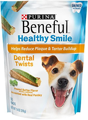 Purina Beneful Beneful Healthy Smile Dental Dog Snacks, Small/Medium Twists, 7.4-Ounce Pouch, Pack of (Purina Dog Beneful Healthy)