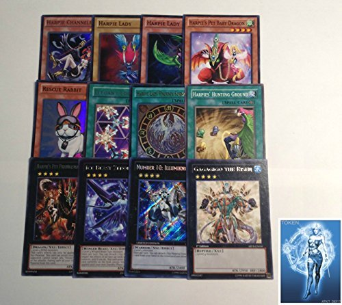 YUGIOH Tournament Ready Harpie Deck with Complete Extra Deck with exclusive Phantasm Gaming Token + a Deck Box & 100 Sleeves