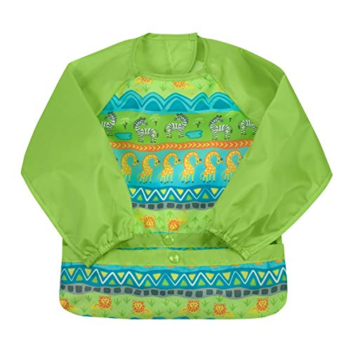 green sprouts Easy-wear Long Sleeve Bib | Waterproof protection from mealtime to playtime | Flipped pocket, soft material, elasticized sleeves, easy clean