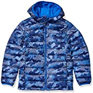 Amazon Essentials Boys' Lightweight Water-Resistant Packable Hooded Puffer Ja