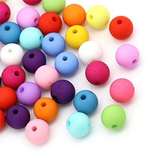 - 100pcs 10mm Mixed Solid Color Acrylic Round Small Hole Beads