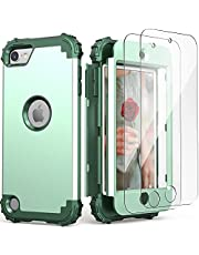 IDweel iPod Touch 7th Generation Case with 2 Screen Protectors,Hybrid 3 in 1 Shockproof Slim Heavy Duty Hard PC Cover Soft Silicone Rugged Bumper Full Body Case for iPod Touch 5/6/7th Gen,Mint Green