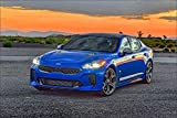 KIA 2018 Stinger GT AWD Light Blue Metallic Cars Wall Art, Pop Art, Poster, Art Prints | Rare Posters