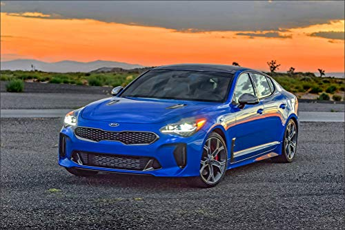 KIA 2018 Stinger GT AWD Light Blue Metallic Cars Wall Art, Pop Art, Poster, Art Prints | Rare Posters