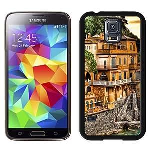 Fashionable Custom Designed Samsung Galaxy S5 I9600 G900a G900v G900p G900t G900w Phone Case With Portofino Coast Mansion_Black Phone Case