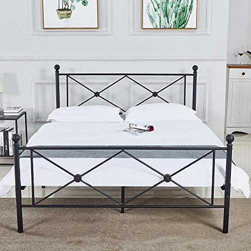 (Fast Delivery Free) Antique Bed Frame Metal Structure Full Size Headboard and Country Style Iron-Art Steel Footboard Support Box Spring,Retro Industry Style Headboard and (Footboard No Squeaky) ()