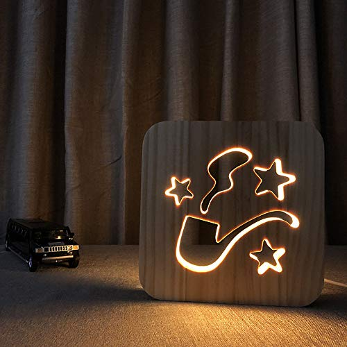 HIOJDWA Night lightUsb Power Pipe 3D Night Light Decor Nightlight Table Desk Wooden 3D Night Lamp Child Beedroom Decor Nightlight Led Gift (Beedroom Furniture)