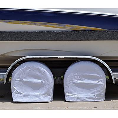 """TCP Global Set of 2 Waterproof Vinyl RV Wheel & Tire Covers, Fits 26.75"""" to 29"""" Tire Diameters, Weatherproof Tire Protectors"""