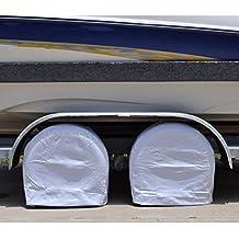 """TCP Global Set of 2 Waterproof Vinyl RV Wheel & Tire Covers, Fits 24"""" to 26.5"""" Tire Diameters, Weatherproof Tire Protectors"""