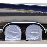 TCP Global Set of 2 Waterproof Vinyl RV Wheel & Tire Covers, Fits 29'' to 31.75'' Tire Diameters, Weatherproof Tire Protectors