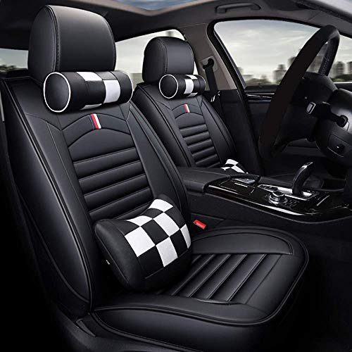 Mopow Car Seat Covers Full Set Leatherette Cushion with 2 Headrests 2 Backrests Economical Racing Sport Style Seat Protectors Universal Breathable Adjustable Seat Pads for Most Types of Cars (27-WH)