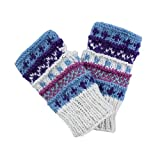 Winter wonder soft fingerless Fleece Lined Hand Knit gloves-Off White-One Size