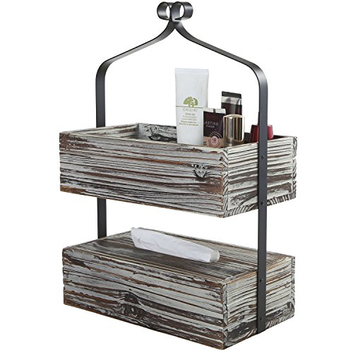 MyGift Rustic Torched Wood Shelf Rack, 2 Tier Counter-Top Organizer, Dark Brown