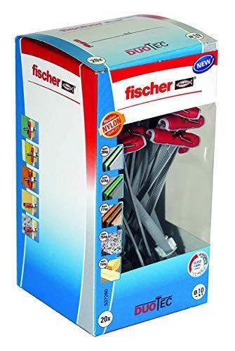 Fischer 537260 DIY/Caja 20 Ud, gris, Duotec 10 taco, Set Piezas