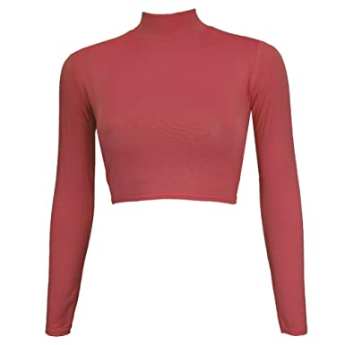 Womens Ladies Casual Short Sleeves Stretch Plain Polo Turtle Neck Top