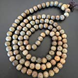 8mm*108 Green Sandalwood Prayer Beads Buddhist Sutra Bracelet (Miyallu Ship From Canada)