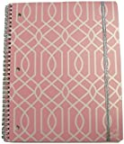 """Carolina Pad Studio C College Ruled Poly Cover Spiral Notebook with Metallic Elastic Closure ~ Pattern Play (Pink and White Maze; 8.5"""" x 10.5""""; 80 Sheets, 160 Pages)"""