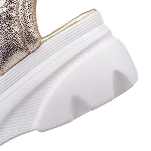 AmoonyFashion Womens Open Toe Hook and Loop Blend Materials Solid Kitten Heels Sandals Gold 3Z2B2ZcwG