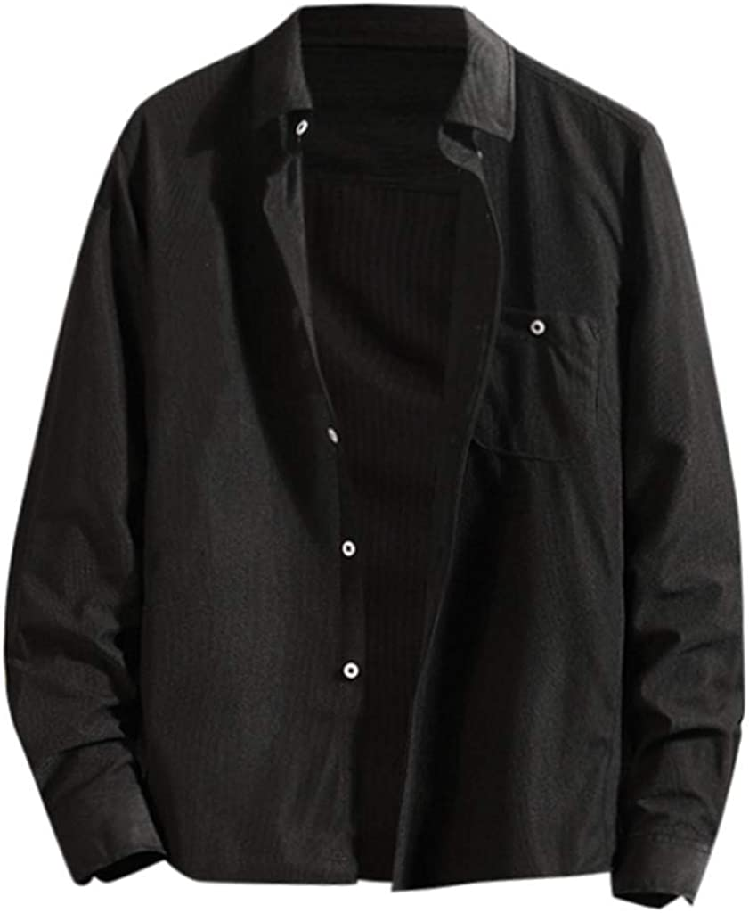 Mens Long Sleeve V Neck Shirts Males Loose Plus Size Monochrome Loose Solid Button Down Casual Top Blouse