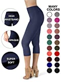 SATINA High Waisted Super Soft Capri Leggings - 20 Colors - Reg & Plus Size (One Size, Navy)