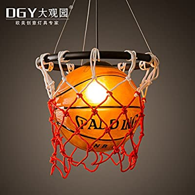Quietness @ Loft Retro Creative individuality Campaign Theme Of Art Deco Chandeliers Basketball 320Mm580Mm Pendant Lamp For Kids Bedroom Dinning Room Living Room