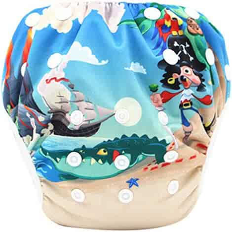 a3c7d688bb Winsummer Reusable Swim Diapers Washable Swim Nappies with Adjustable Snaps  Swimming Lessons