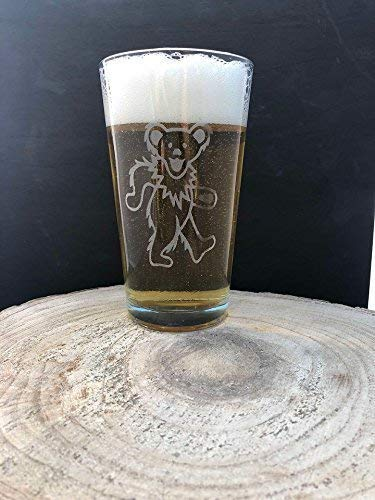 Grateful Dead Jerry Garcia Dancing Bear Deadhead Craft Beer Pint Glass Laser Engraved Etched 16 oz Fraternity Hippie Boho FREE Shipping