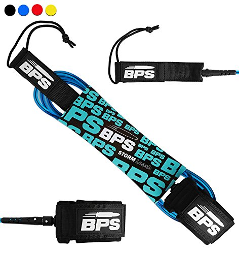 BPS 8 Surf/SUP Straight Leash - 2018 - Key Pocket Added - Blue