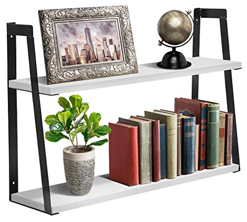 Sorbus 2-Tier Wooden Floating Shelf with Metal Brackets - Wall Mounted Rustic Industrial Wood Storage Wall Shelves for Home Décor in Living Room, Bathroom, Entryway (2-Tier Wood Shelf - White) (Wall Shelf Tier 2)