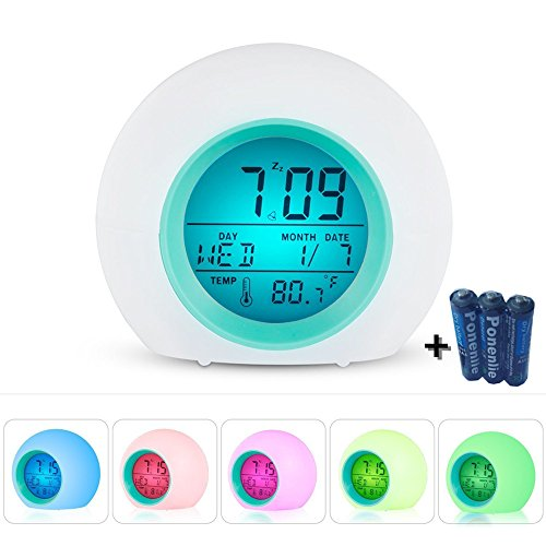 Wake Up Light Alarm Clock,Wake Up with Nature Sounds,Smart Snooze,Digital Temerature Display with 7 Color Night Light for Kids,Adults & Teens (White)