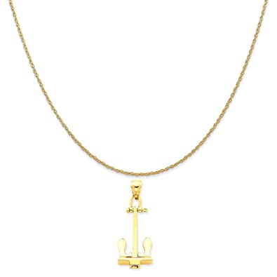 247ca5fd110e3 Amazon.com: Mireval 14k Yellow Gold 3-D T-Bar Style Anchor Pendant ...