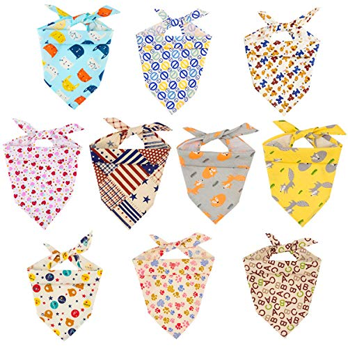 MEWTOGO 10 Pack Dog Bandanas - Washable and Reversible Triangle Cotton Dog Bibs Scarf Assortment Suitable for Puppy Small and Medium ()