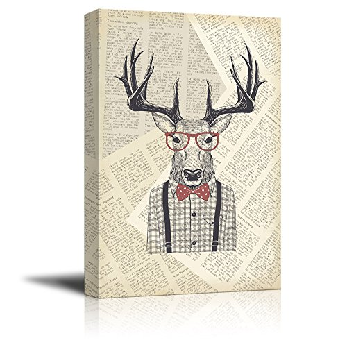 Creative Animal Figure on Vintage Paper Mr Elk Wearing a Checked Shirt