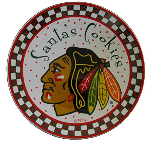 Memory Company NHL Chicago Blackhawks Santa Ceramic Cookie Plate, One Size, Multicolor