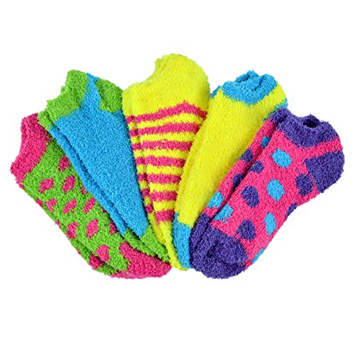 Fuzzy Ankle Socks - Butter Toes No-Show Fuzzy Socks 5-Pair Pack Assorted Colors (Style - 4)