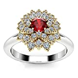 Fxbar Women Fashion Ruby Ring Dainty Shine Flower