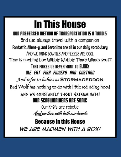 In This House We Do Doctor Who, Doctor Who Mashup Art Print (8x10)