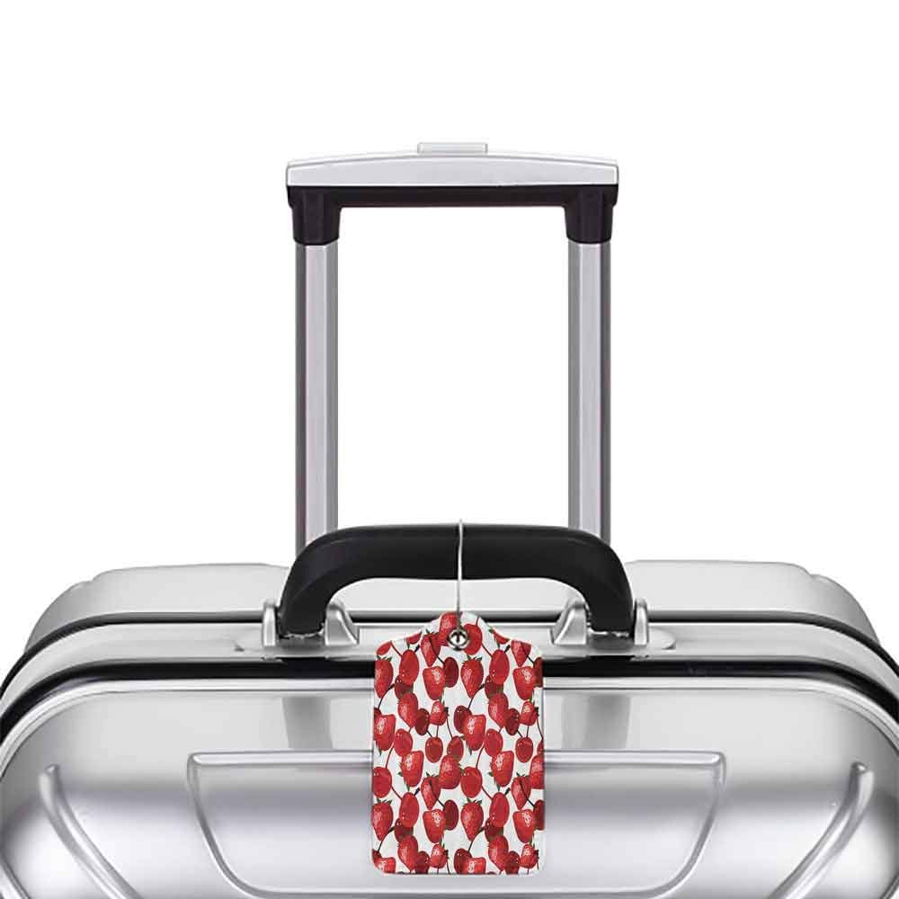Multi-patterned luggage tag Red Decor Strawberries Cherries Spring Fruits for Kitchen and Picnic Image Double-sided printing Burgundy Green and White W2.7 x L4.6
