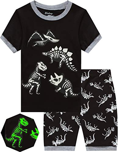 Children Dinosaur Pajamas Boys Glow in Dark Pjs Cotton Sleepwear Set Toddler Kids Clothes Size 3T -